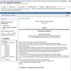 2014-1526 du 16 décembre 2014 relatif à l'appréciation de la valeur professionnelle des fonctionnaires territoriaux