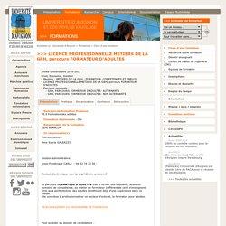 LICENCE PROFESSIONNELLE METIERS DE LA GRH, parcours FORMATEUR D'ADULTES