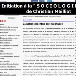 "La notion d'Identité professionnelle - Le blog de l'axe "" S O C I O L O G I E """