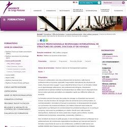 Licence professionnelle Responsable international de structures de loisirs, d'accueil et de voyages
