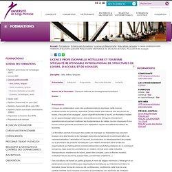 Licence professionnelle Hôtellerie et tourisme spécialité Responsable international de structures de loisirs, d'accueil et de voyages