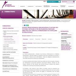 Licence professionnelle Organisation et gestion des systèmes hôteliers et de restauration parcours Direction des services d'hébergement en hôtellerie internationale
