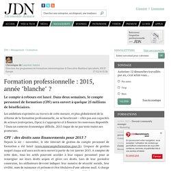 """Formation professionnelle : 2015, année """"blanche""""?"""