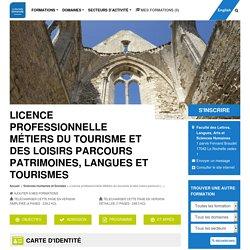 Licence professionnelle Management des organisations spécialité Patrimoines, langues et tourismes