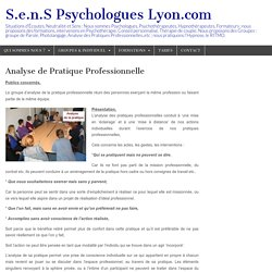 Analyse de Pratique Professionnelle – S.e.n.S Psychologues Lyon.com