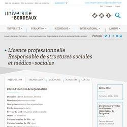 Licence professionnelle Responsable de structures sociales et médico-sociales