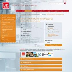 Formation continue professionnelle Master Management Stratégique spécialité management de l'Innovation IAE Toulouse