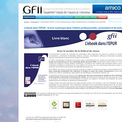 L'ebook dans l'EPUR : le livre numérique dans l'édition professionnelle, universitaire et de recherche