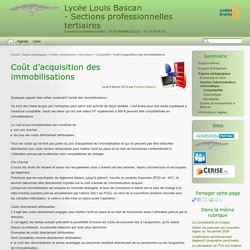 Coût d'acquisition des immobilisations - Lycée Louis Bascan - Sections professionnelles tertiaires