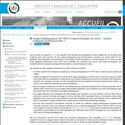 Usages pédagogiques de l'ENT et apprentissages du Socle : quelles pratiques professionnelles ? — Site de l'Institut Français de l'Education