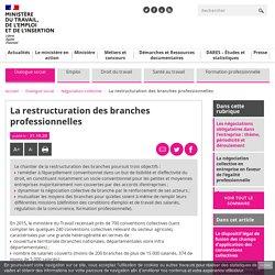 La restructuration des branches professionnelles - Ministère du Travail, de l'Emploi et de l'Insertion