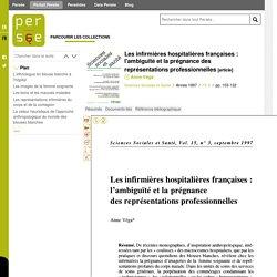 Anne Vega-Les infirmières hospitalières françaises : l'ambiguïté et la prégnance des représentations professionnelles - Persée
