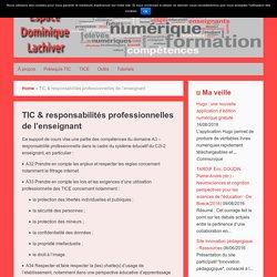 TIC & responsabilités professionnelles de l'enseignant