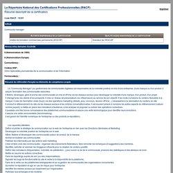 Le Répertoire National des Certifications Professionnelles (RNCP) (Résumé descriptif de la certification) - Commission nationale de la certification professionnelle