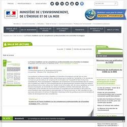 La France mobilisée sur les compétences professionnelles de la transition écologique - Ministère de l'Environnement, de l'Energie et de la Mer