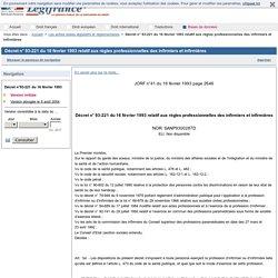 Décret n°93-221 du 16février1993 relatif aux règles professionnelles des infirmiers et infirmières