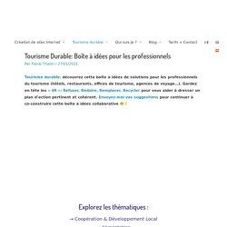 Tourisme Durable: Boîte à idées pour les professionnels – 4R Communication par Florie Thielin