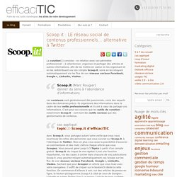 Scoop.it : LE réseau social de contenus professionnels | efficaciTIC