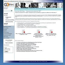 """Réseau de professionnels de l'information en Ile-de-France - Journée GO!Doc: """"Internet et le droit de l'IST"""""""