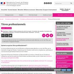 Titres professionnels - Formation professionnelle des demandeurs d'emploi