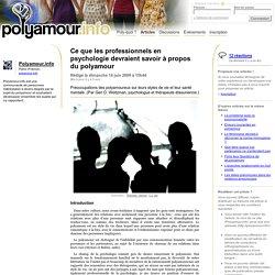 Ce que les professionnels en psychologie devraient savoir à propos du polyamour