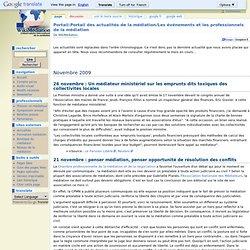 Portail:Portail des actualités de la médiation/Les événements et les professionnels de la médiation