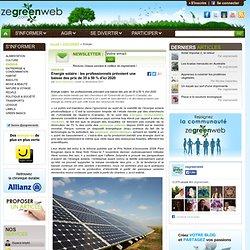 Energie solaire : les professionnels prévoient une baisse des prix de 35 à 50 % d'ici 2020