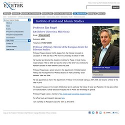 Professor Ilan Pappé - Arab and Islamic Studies - University of Exeter