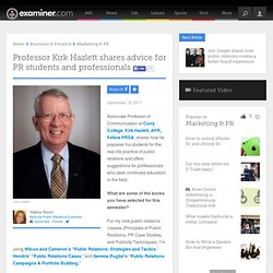 Professor Kirk Hazlett shares advice for PR students and professionals - National Public Relations
