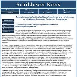 Resolution deutscher Strafrechtsprofessorinnen und –professoren an die Abgeordneten des Deutschen Bundestages