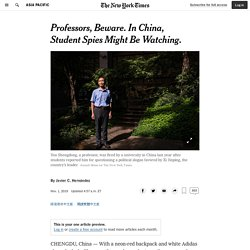 Professors, Beware. In China, Student Spies Might Be Watching.