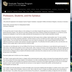 Professors, Students, and the Syllabus