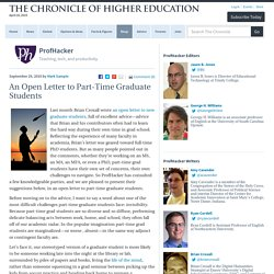 An Open Letter to Part-Time Graduate Students