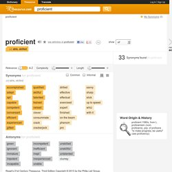Proficient Synonyms, Proficient Antonyms