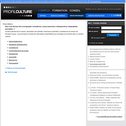ProfilCulture : 1er site emploi formation des métiers de la culture et de la communication
