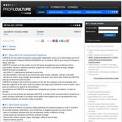 Journalisme / nouveaux médias, Cinétévé, Paris 4e