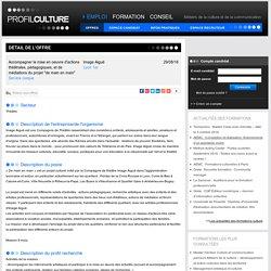 """ProfilCulture, Accompagner la mise en oeuvre d'actions théâtrales, pédagogiques, et de médiations du projet """"de main en main"""", Image Aiguë, Lyon 1er"""