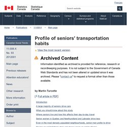 Profile of seniors' transportation habits