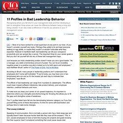 11 Profiles in Bad Leadership Behavior
