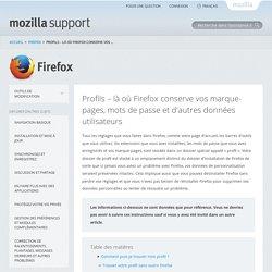 Profils – là où Firefox conserve vos marque-pages, mots de passe et d'autres données utilisateurs