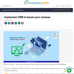 Grow your profit with Cloud CRM - Implement CRM to boost your revenue