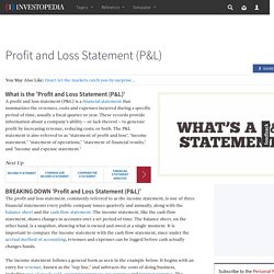 Profit and Loss Statement (P&L) Definition