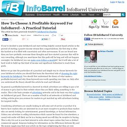 How To Choose A Profitable Keyword For InfoBarrel - A Practical Tutorial
