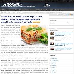 Profitant de la démission du Pape, Findus révèle que les lasagnes contenaient du dauphin, du chaton, et du koala