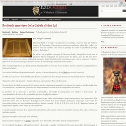 Profonds mystères de la Cabale divine [2] « Cabale Chrétienne « Kabbale