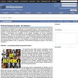 Profs de français au lycée : Au secours !