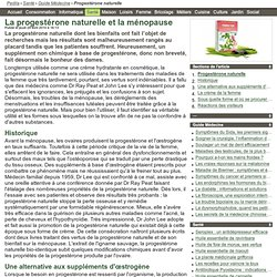 La progestérone naturelle et la ménopause