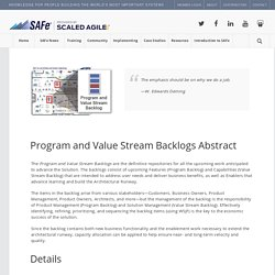 Program and Value Stream Backlogs – Scaled Agile Framework