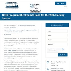 RIDE Program Checkpoints Back for the 2016 Holiday Season - pearsonairportlimousineservice