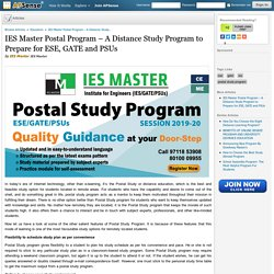 IES Master Postal Program – A Distance Study Program to Prepare for ESE, GATE and PSUs by IES Master